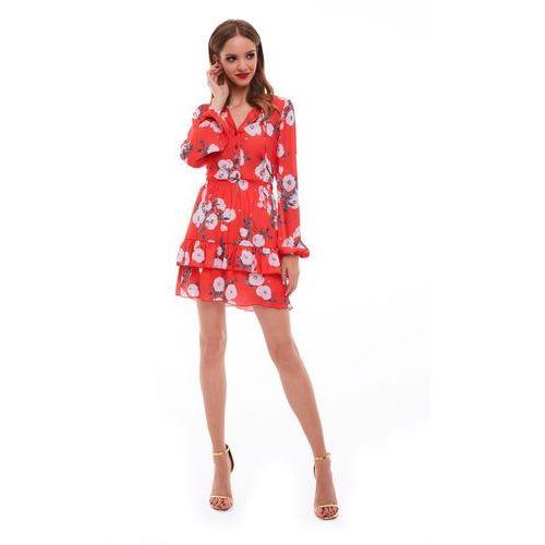 Suknie i sukienki, Sukienka Sabia czerwona w kwiaty