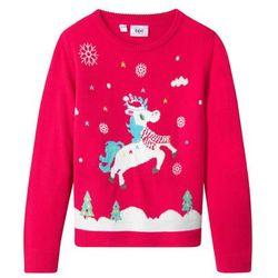 Sweter bożonarodzeniowy bonprix czerwień granatu