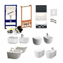 Kompletny zestaw (ceramika do wyboru) serii Rimless: misa WC, bidet oraz stelaże podtynkowe Geberit