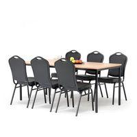 Meble do restauracji i kawiarni, Zestaw do stołówki, stół 1800x800 mm, buk + 6 krzeseł czarna eko-skóra/czarny
