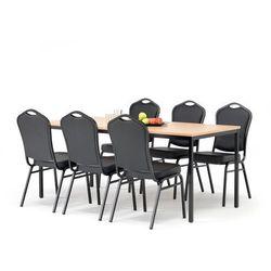 Zestaw mebli do stołówki, stół 1800x800 mm, buk + 6 krzeseł, skai/czarny