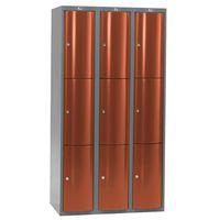 Pozostała odzież robocza i BHP, Metalowa szafa ubraniowa CURVE, 3x3 drzwi, 1740x900x550 mm, czerwony