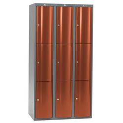 Szafa szatniowa Curve 3 sekcje 9 drzwi 1740x900x550 mm czerwony metalik