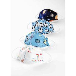Maski na usta i nos dziecięce (4 szt.) bonprix niebiesko-biało-czerwony wzorzysty