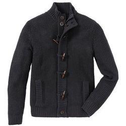 Sweter rozpinany z guzikami kołkami Regular Fit bonprix antracytowy melanż