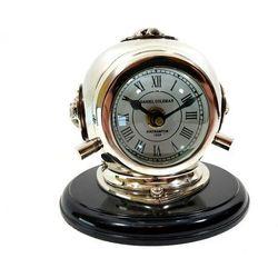 Zegar mosiężny CLK-0450 - hełm nurka na podstawie drewnianej, 20x20x17cm