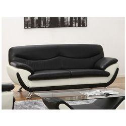 Sofa 3-osobowa z materiału skóropodobnego INDICE - Model dwukolorowy czarny i biały
