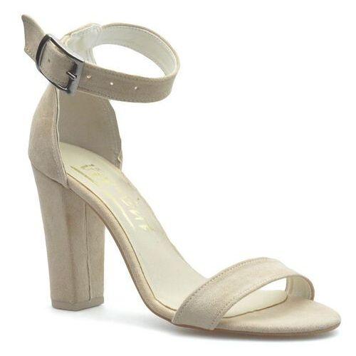 Sandały damskie, Sandały For-But 1580 Beżowe zamsz