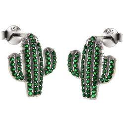 Eleganckie rodowane srebrne kolczyki kaktus zielone cyrkonie srebro 925 K2255
