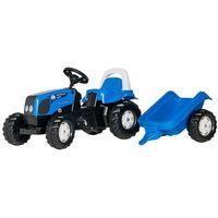 Traktory dla dzieci, Rolly Toys Traktor Rolly Kid Landini, niebieski z przyczepką - BEZPŁATNY ODBIÓR: WROCŁAW!
