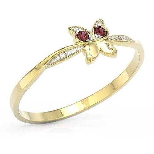 Pierścionki i obrączki, Pierścionek motylek z żółtego złota z czerwonymi cyrkoniami bp-88z-r-c