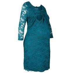 Sukienka koronkowa ciążowa i do karmienia piersią bonprix niebieskozielony