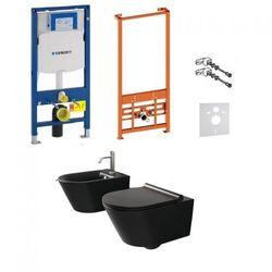 Kompletny zestaw Lorena Black serii Rimles: misa WC, bidet oraz stelaże podtynkowe Geberit UP320