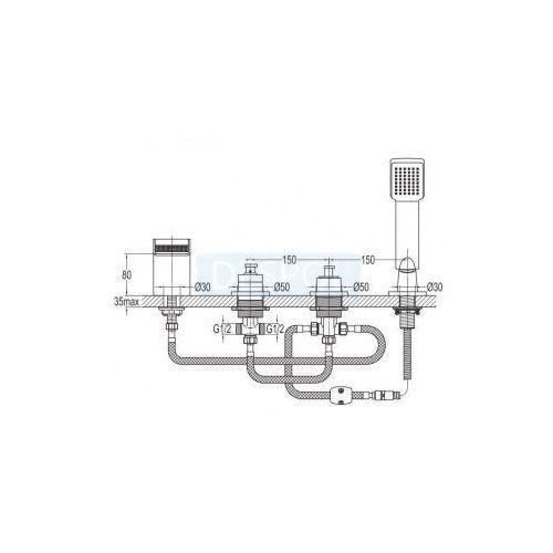Baterie do wannowo-prysznicowe, Bateria Omnires CASCADE CA4032