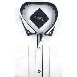 Koszula Męska Speed. A gładka biała SLIM FIT z mankietami na spinki D912