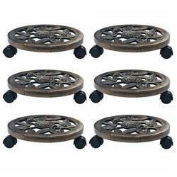 Brązowe stojaki na kółkach pod donice - Nivis 2X