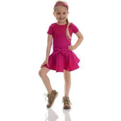 Bajeczna sukienka dla dziewczynki z falbaną KOKARDA fuksjowa