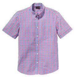 Koszula z kory z krótkim rękawem Regular Fit bonprix różowo-niebieski w kratę