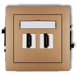 Gniazdo podwójne HDMI 8DHDMI-2, złoty KARLIK DECO