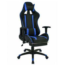 Czarno-niebieski nowoczesny fotel dla gracza - Coriso