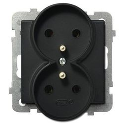 Gniazdo podwójne z/u IP20 16/250, czarny metalik GP-2RRZ/m/33 OSPEL SONATA