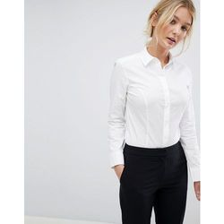 ASOS DESIGN fuller bust long sleeve shirt body in stretch cotton - White