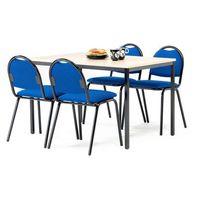 Meble do restauracji i kawiarni, Zestaw mebli do stołówki, stół 1200x800 mm, brzoza + 4 krzesła, niebieski/czarny