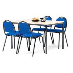 Zestaw mebli do stołówki, stół 1200x800 mm, brzoza + 4 krzesła, niebieski/czarny