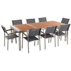 Zestaw ogrodowy mahoniowy blat 220 cm 8-osobowy szare krzesła GROSSETO