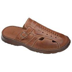 Klapki buty ŁUKBUT 965 Brązowe - Brązowy