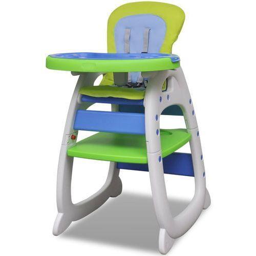Krzesełka do karmienia, vidaXL Krzesełko do karmienia 3w1 Niebiesko-Zielone