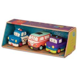 Trzy miękkie autka B. Toys - Wheeeels Mini z busem BX1695Z