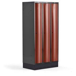 Metalowa szafa ubraniowa CURVE, na cokole, 3x1 drzwi, 1890x900x550 mm, czerwony