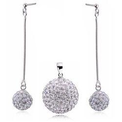 Duży srebrny komplet kulek shamballa discoballs Swarovski srebro 925 Z602