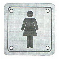 Piktogram - oznaczenie WC ze stali nierdzewnej 100 x 100 mm Panie