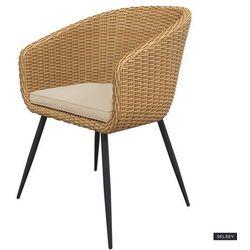 SELSEY Krzesło ogrodowe Kencur jasny technorattan z beżowym siedziskiem