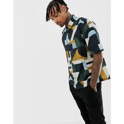 ASOS DESIGN oversized boxy painted geo printed shirt with longer sleeve - Black