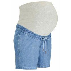 Elastyczne spodnie ciążowe bonprix ciemnoniebiesko-biały z nadrukiem