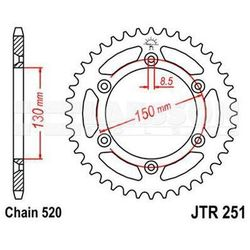 Zębatka tylna stalowa JT R251-49, 49Z, rozmiar 520 2302559 Yamaha YZ 125, WR 400