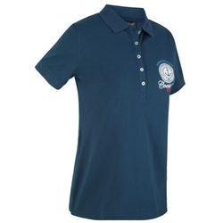 Shirt polo z bawełny pique z nadrukiem, krótki rękaw bonprix ciemnoniebieski