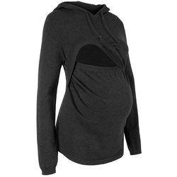 Sweter ciążowy i do karmienia, z kapturem bonprix antracytowy melanż