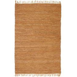 Ręcznie tkany dywanik Chindi, skóra, 160x230 cm, jasnobrązowy