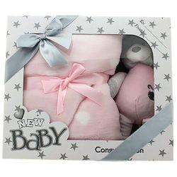 Zestaw New Baby grzechotką i kocykiem, różowy - DARMOWA DOSTAWA OD 199 ZŁ!!!