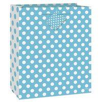 Opakowania prezentowe, Torebka prezentowa błękitna w białe kropeczki 32x27 cm - 1 szt.