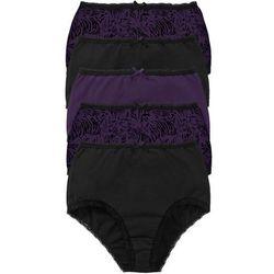 Figi z wysoką talią (5 par) bonprix czarno-ciemny lila z nadrukiem