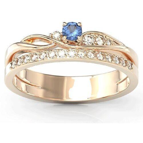 Pierścionki i obrączki, Pierścionek z różowego złota z szafirem i brylantami BP-77P - Różowe \ Szafir