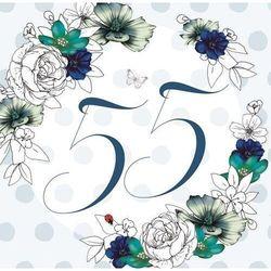 Karnet Swarovski kwadrat Urodziny 55 kwiaty