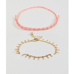ASOS DESIGN pack of 2 colour pop woven and stick chain bracelets - Gold