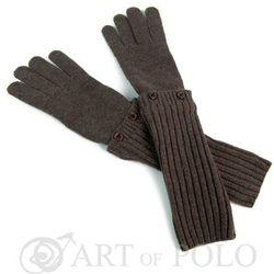 Brązowe uniwersalne rękawiczki 3 w 1 długie, krótkie, mitenki - brązowy SZALIKI, CZAPKI, RĘKAWICZKI (-20%)