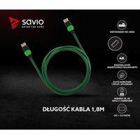Kable video, Kabel HDMI v2.0 Savio GCL-03 1,8m, dedykowany do XBOX, gamingowy, OFC, 4K, zielono-czarny, złote końcówki